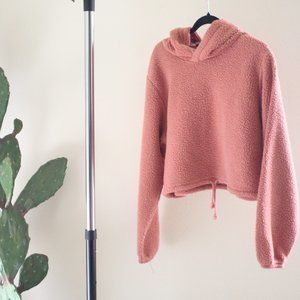 Wild Fable Crop Teddy Hoodie Pink Size XL